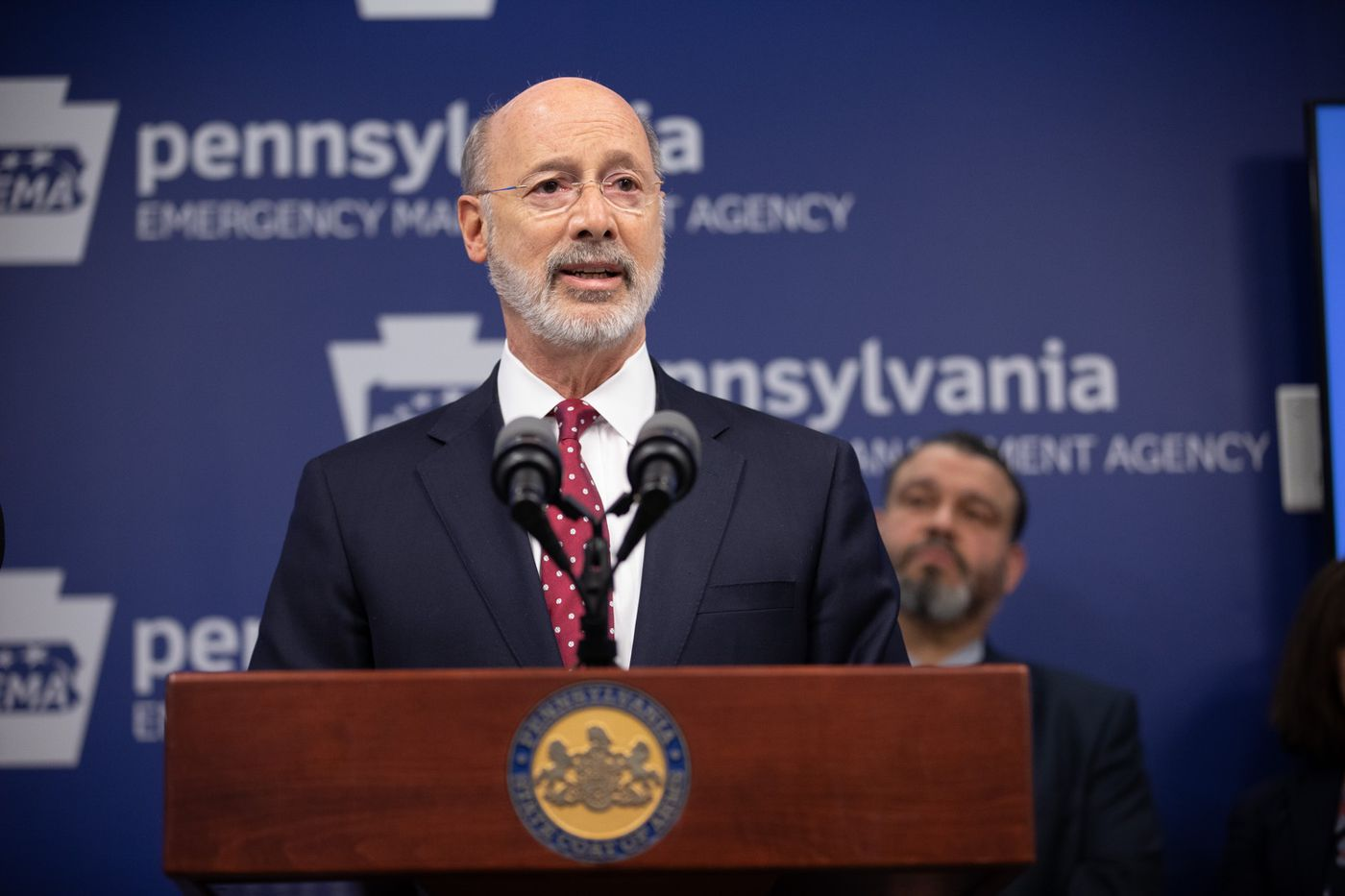 Governor Tom Wolf  speaking to reporters. Governor Tom Wolf, United States Representative for Pennsylvania's 6thCongressional District Chrissy Houlahan, Secretary of Health Dr. Rachel Levine, and Secretary of Education Pedro Rivera provided an update on the coronavirus known as COVID-19 and outline ongoing efforts to mitigate the virus in Pennsylvania.  March 14, 2020 – Harrisburg, PA