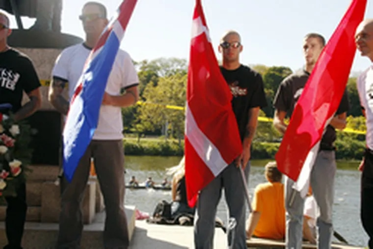 In early October, as Philadelphia Navy Day Regatta spectators pay little attention, members of the Keystone State Skinheads gather to lay a wreath of honor at the statue of Icelandic explorer Thorfinn Karlsefni, along Boathouse Row on Kelly Drive.