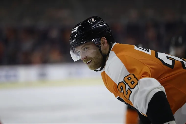 Claude Giroux, pictured during Thursday's game against New Jersey, recorded two assists in Saturday's overtime loss to Tampa Bay. He is now tied with Brian Propp (480) for second all-time in career assists for the Flyers.