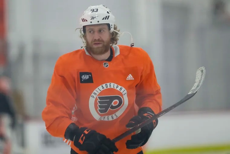 Flyers right wing Jakub Voracek on the ice during practice on Monday, January 4, 2021 in Voorhees, New Jersey.