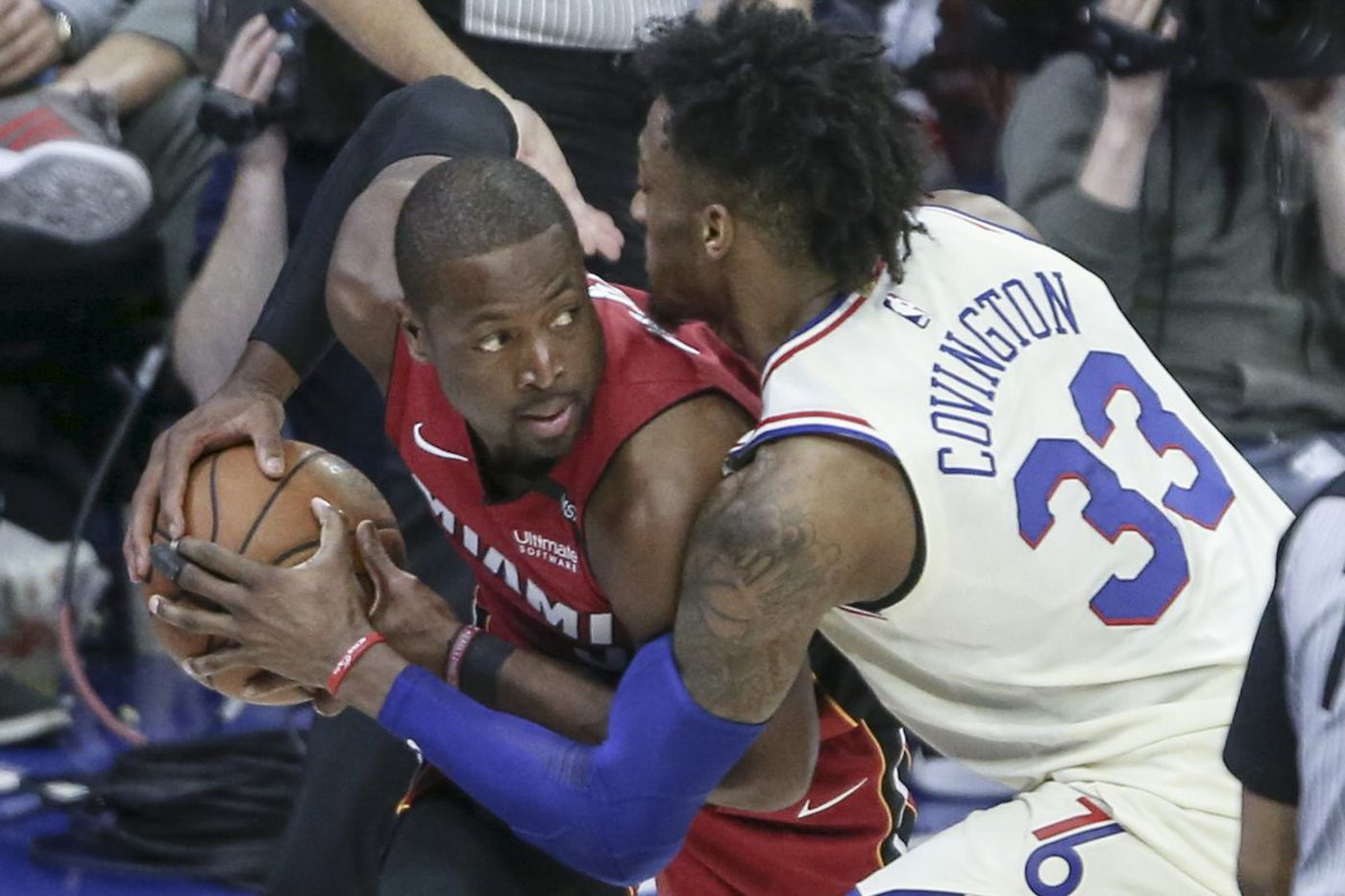 Dwyane Wade scores 28 points as Heat win, 113-103, to even NBA playoff series with Sixers