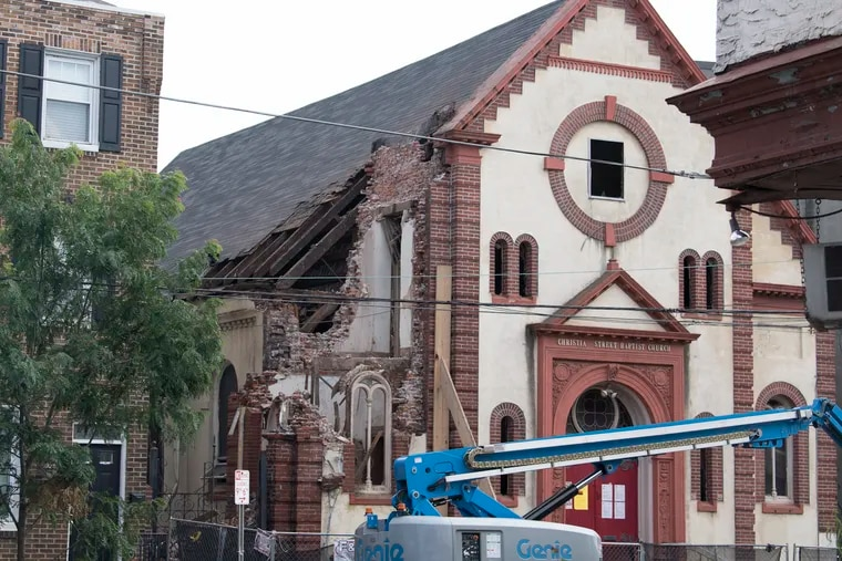 On Wednesday, demolition continued at the Christian Street Baptist Church in Bella Vista. Developer Ori Feibush is razing the property. A new developer will build townhouses.