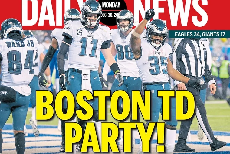 A piece of the front page of the Philadelphia Daily News on Monday, Dec. 30, after the Eagles beat the Giants to win the NFC East.