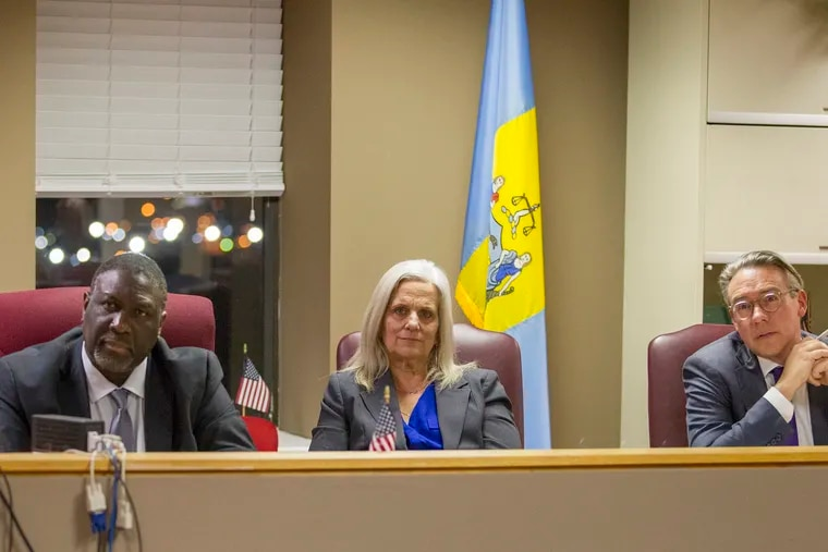 L-R: City Commissioners Anthony Clark, Lisa Deeley, and Al Schmidt during a public hearing on voting machines on Jan. 10, 2019.
