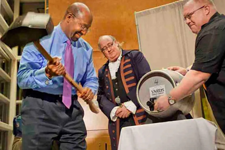 Mayor Nutter traditionally taps the first keg to open Philadelphia Beer Week. (George Widman Photography LLC)