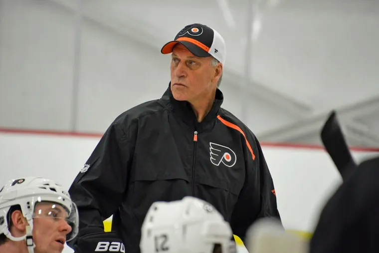 New Flyers assistant coach Rick Wilson, shown at practice Wednesday, will be trying to stabilize the team's young defense. ZACK HILL / Philadelphia Flyers