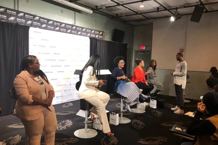 Eagles wide receiver Nelson Agholor (standing) with the panel during Thursday's event at Lincoln Financial Field.