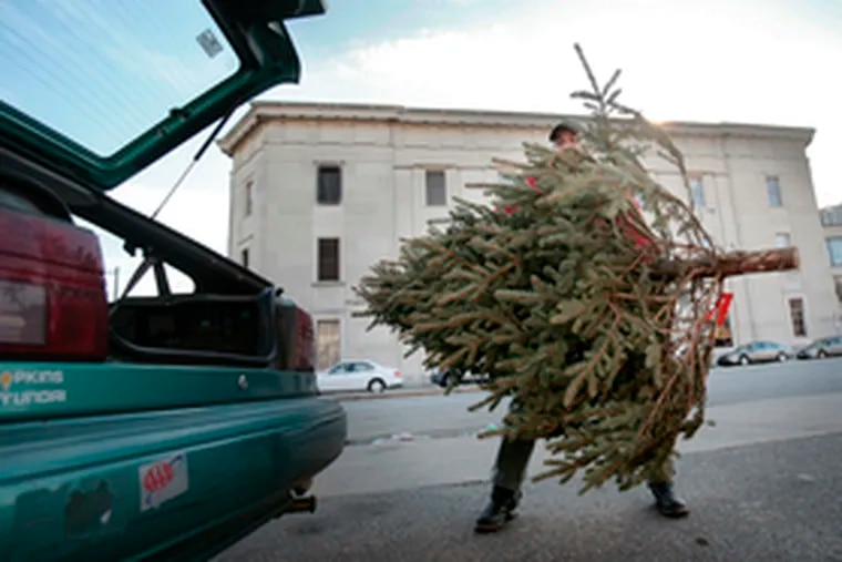 Terry McBrien of Philadelphia loads a tree he bought for $20 at Broad and Passyunk into his car. A national poll found a slight drop from last year in consumers' sense of Christmas spirit.