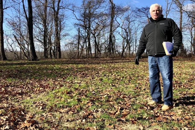 Peter Tucci, a leader of efforts to save the heart of what was once Joseph Bonaparte's Bordentown, NJ estate, stands on Point Breeze, a bluff overlooking the Crosswicks Creek and the Delaware River where Bonaparte -- the oldest of Napoleon Bonaparte's siblings -- built his mammoth mansion in 1816. The site will become a state park.