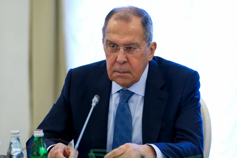 This photo released by Russian Foreign Ministry Press Service shows Russian Foreign Minister Sergey Lavrov speaking on Feb. 15.