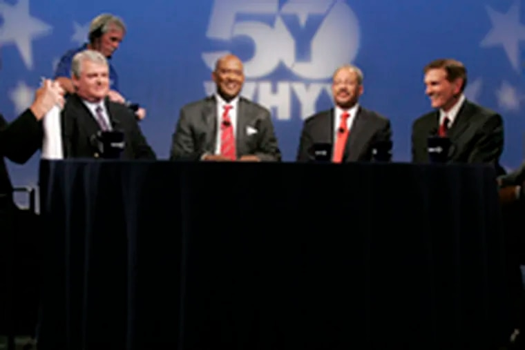 The lineup for the penultimate debate: (from left) moderator Marty Moss-Coane, Bob Brady, Dwight Evans, Chaka Fattah, Tom Knox and Michael Nutter.