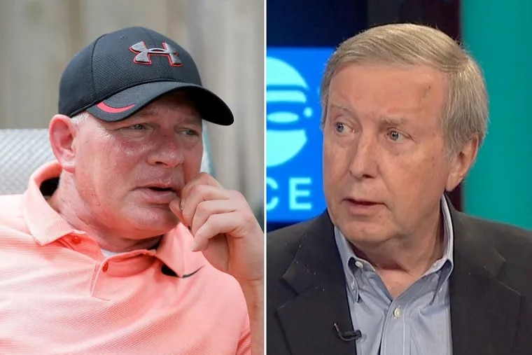 In a bizarre call into 94.1 WIP on Thursday, former Phillies outfielder Lenny Dykstra (left) was confronted about money he allegedly owes to NBC Sports Philadelphia analyst and WIP host Ray Didinger.