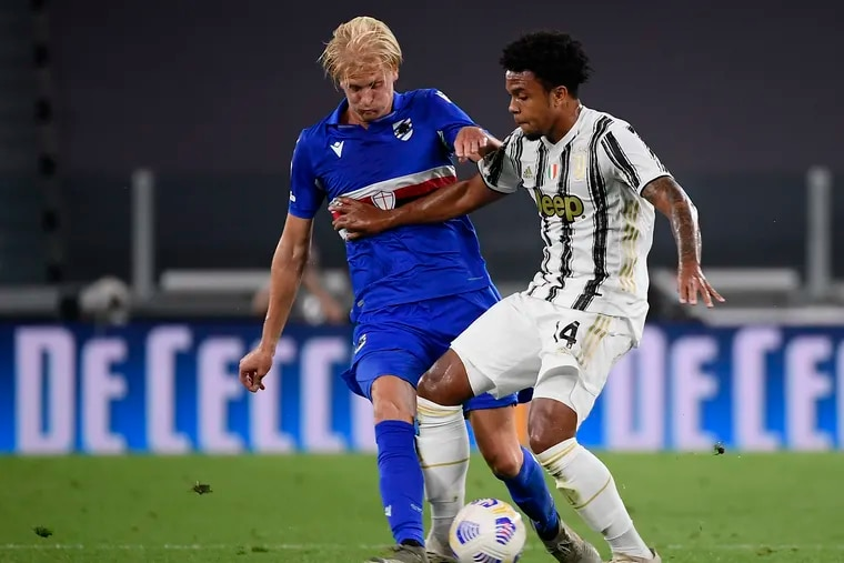 Weston McKennie, right, tested positive for COVID-19 soon after teammate Cristiano Ronaldo tested positive while with Portugal's national team.
