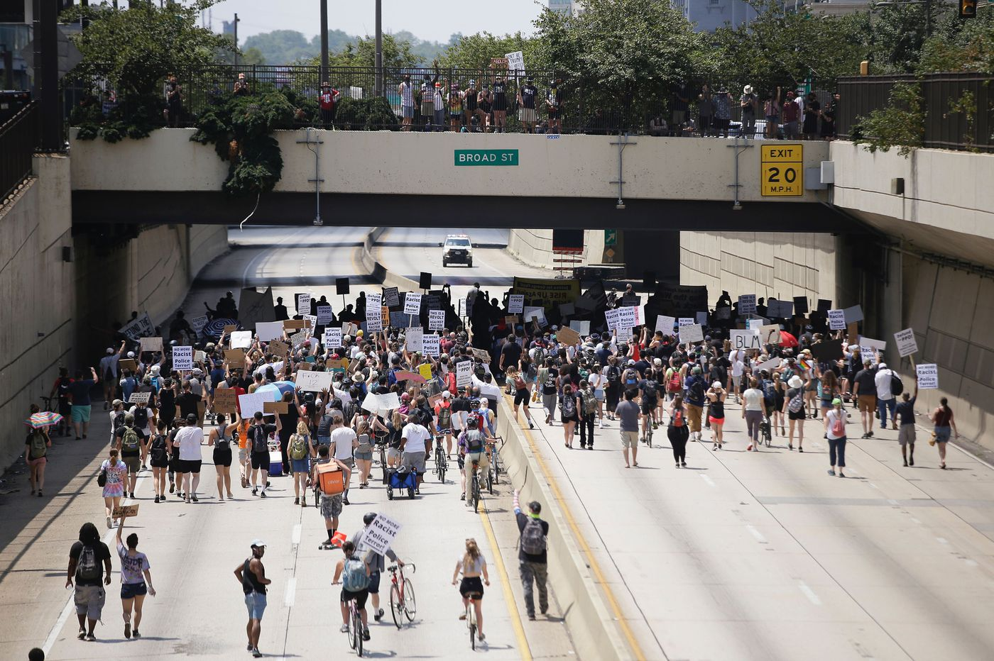 Protesters again take over Vine Street Expressway