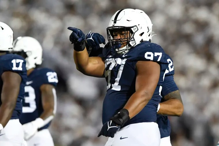 Penn State defensive tackle PJ Mustipher (97) has been creating havoc for opposing offenses.