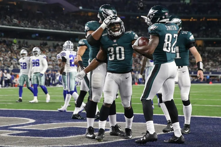 Philadelphia Eagles running back Corey Clement celebrates after scoring a 3rd quarter touchdown against the Dallas Cowboys in Sunday night's 37-9 win at AT&T Stadium in Arlington, Texas.