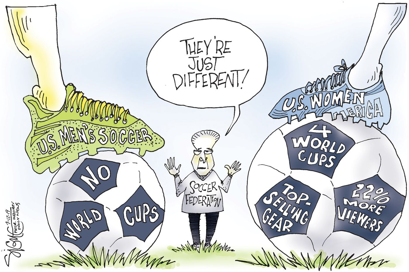 Political Cartoon: Women's soccer is just different from the men's