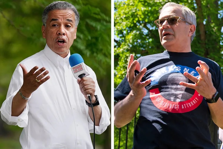 Philadelphia District Attorney Larry Krasner, right, and his Democratic primary opponent, longtime prosecutor Carlos Vega, left, campaign on the final weekend before Krasner defeated Vega in the May 18 primary election.