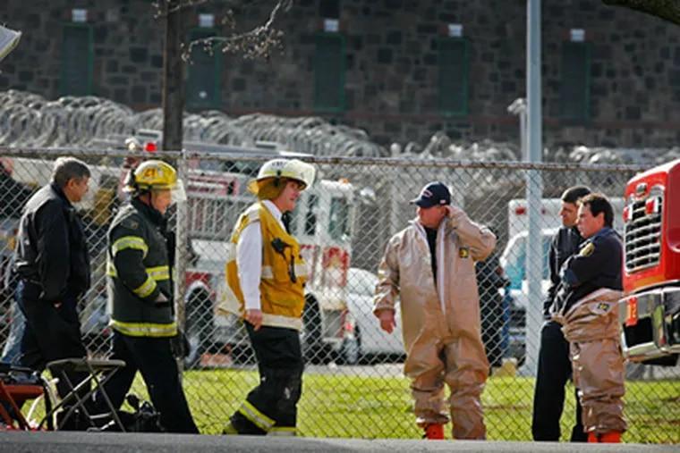 Philadelphia Fire Department Haz-Mat unit was sent to the Philadelphia Prison System on State Road for a suspicious substance Friday morning, December 3, 2010. (ALEJANDRO A. ALVAREZ / Staff Photographer)