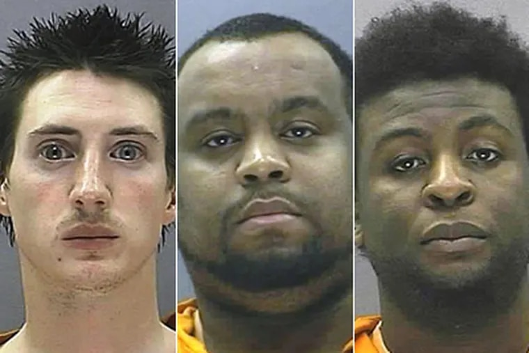 From left, Matthew M. Sadowski, 26; John O. Goins III, 28; and Dorence Y. Caulker, 33; were charged with sexual assault and moral counts.