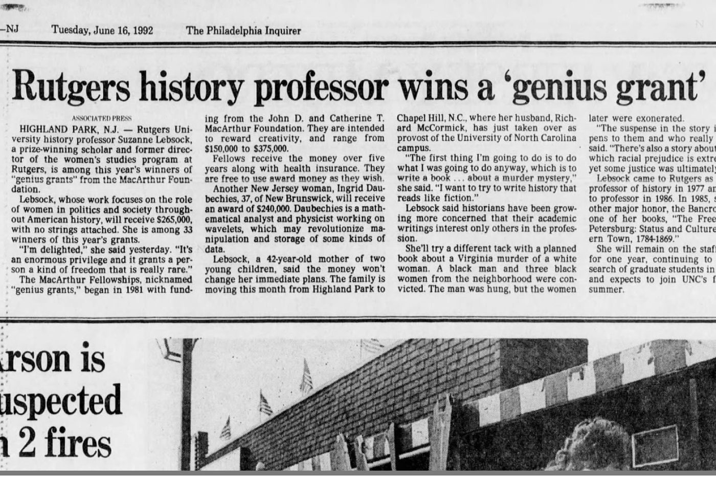 From The Inquirer archives: Rutgers University history professor wins MacArthur Foundation genius grant