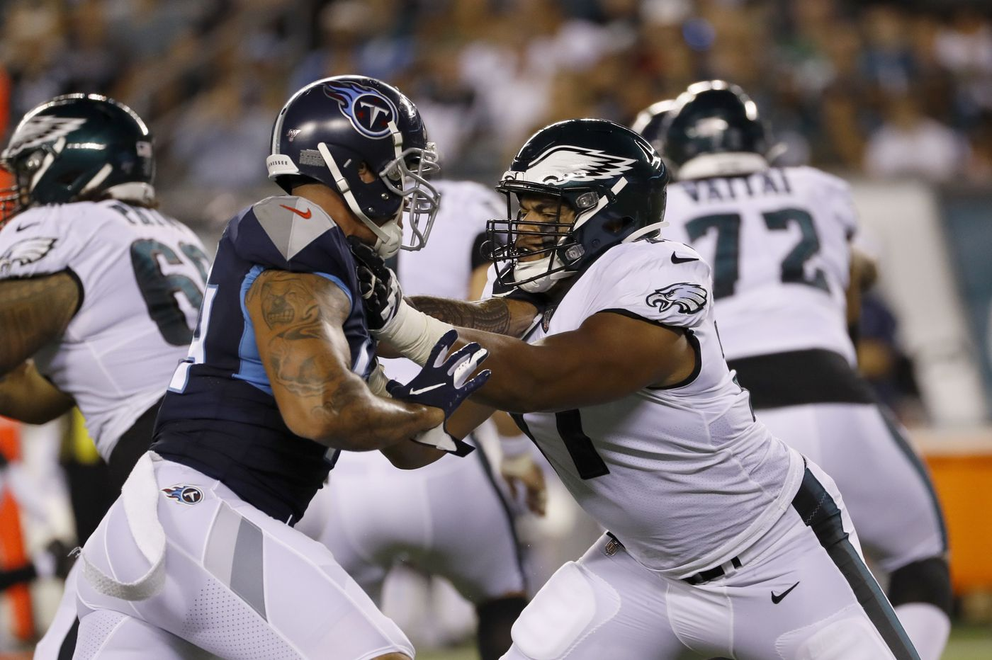 Eagles carrying just two tight ends so they can get rookies Andre Dillard and J.J. Arcega-Whiteside on the field