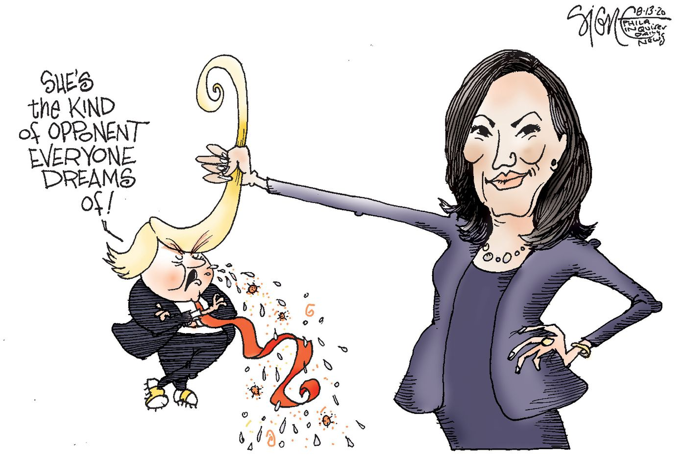 Political Cartoon: Kamala's got Trump        by the long hairs
