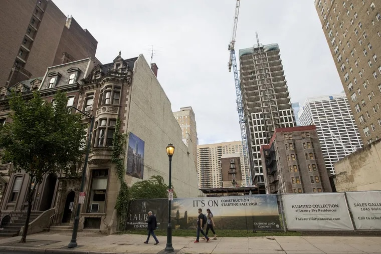 After sitting as a vacant lot for nearly 20 years, Southern Land Company is expected to begin construction this fall on a 599-foot tower in Rittenhouse Square. It will include million-dollar condos, market rate apartments, and workforce housing. Mixed-use commercial will be on the ground floor.