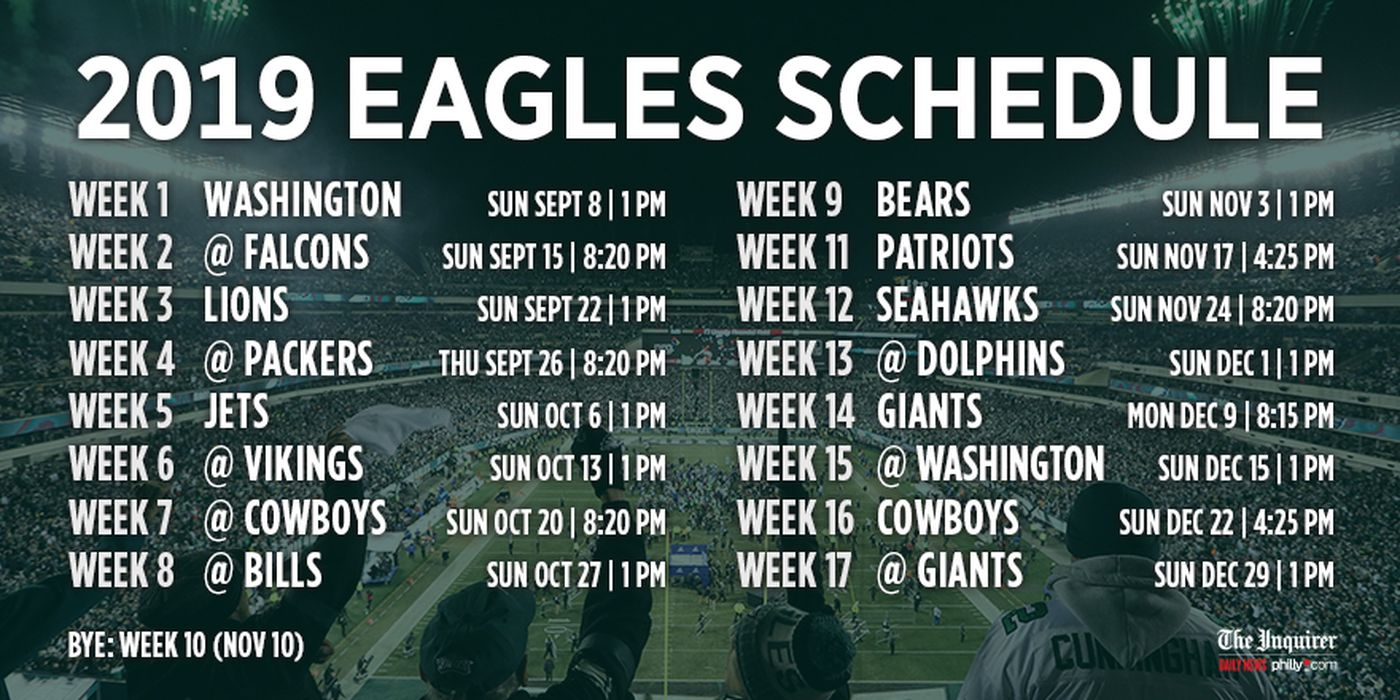 Eagles Schedule 2019 Eagles' 2019 schedule: Super Bowl rematch with Patriots on Nov. 17