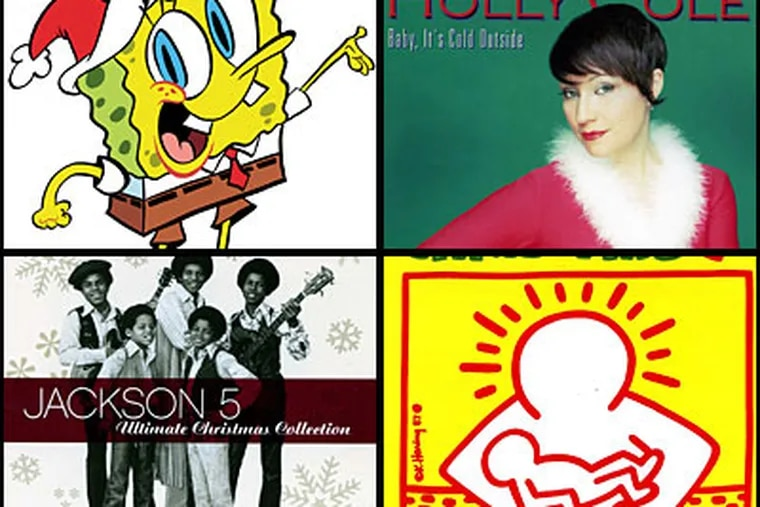Dan DeLuca's Christmas playlist includes releases by (clockwise from top left): SpongeBob SquarePants; Holly Cole, Miley Cyrus as Hannah Montana, and The Jackson 5.