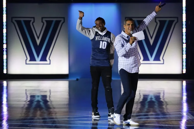Villanova Head Coach Jay Wright addresses fans with Eagles wide receiver Alshon Jeffery during the Hoops Mania in the Finneran Pavilion during on Friday, October 5, 2018.