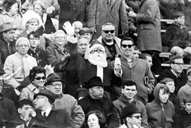 Frank Olivo in his Santa suit at a 1967 Eagles game, a year before the infamous incident.