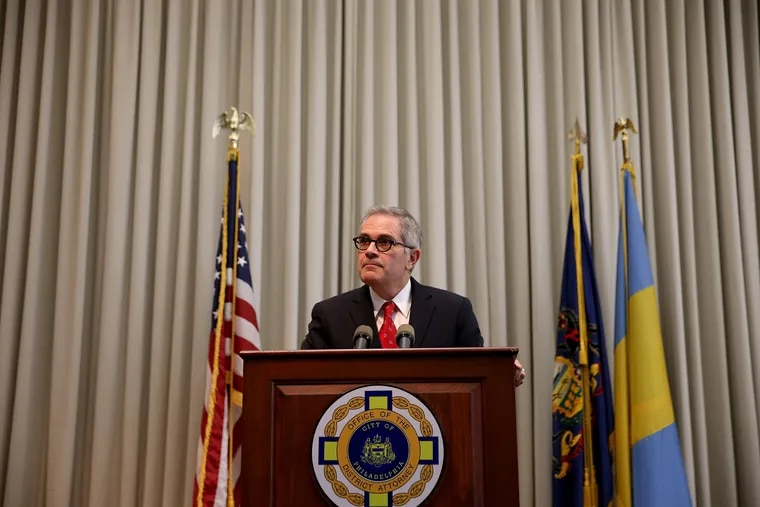 Philadelphia District Attorney Larry Krasner holds a news conference on the recent developments in the case of the murder of Philadelphia Police Sergeant Robert Wilson at the DA's office in Philadelphia, PA on June 25, 2018. DAVID MAIALETTI / Staff Photographer