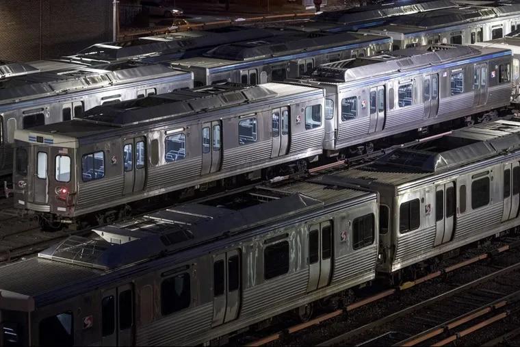 SEPTA rail cars mass in the Frankford Transportation Center yard.
