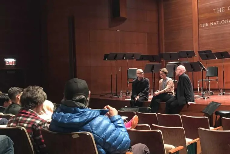Composers David Lang (left) and Caroline Shaw plus conductor Donald Nally have a post-concert talk Friday in Princeton.