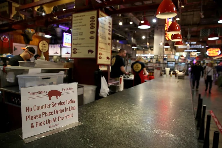 DiNic's did not offer counter service during lunch on Monday at Reading Terminal Market in Philadelphia. The market was taking precautions due to the coronavirus.