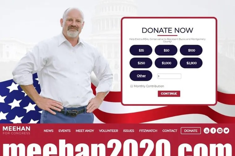 GOP congressional candidate Andrew Meehan is running against incumbent Rep. Brian Fitzpatrick.