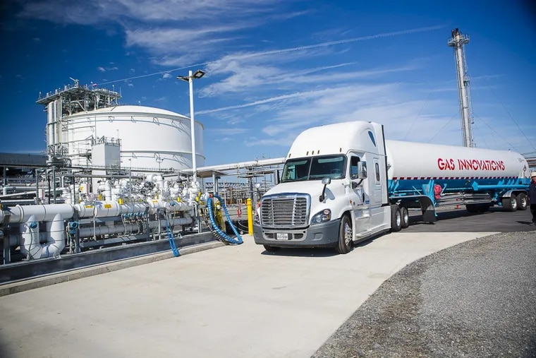 A tanker truck is filled with a ethane at the Marcus Hook Industrial Complex.