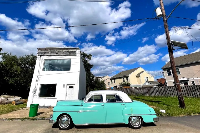 October 4, 2021: A 1950s Dodge Meadowbrook is parked near Front and Main Streets in Camden. The Meadowbrook was introduced in 1949 to be the mid-range car in the Dodge line. By 1952 the entry-level Wayfarer was discontinued, making the Meadowbrook the cheapest car in the Dodge line.