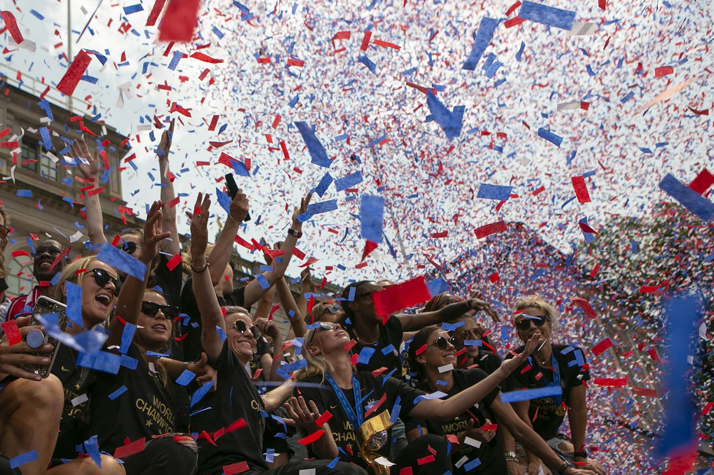 At USWNT's World Cup parade, 'Equal pay!' chants rain down with champions' confetti