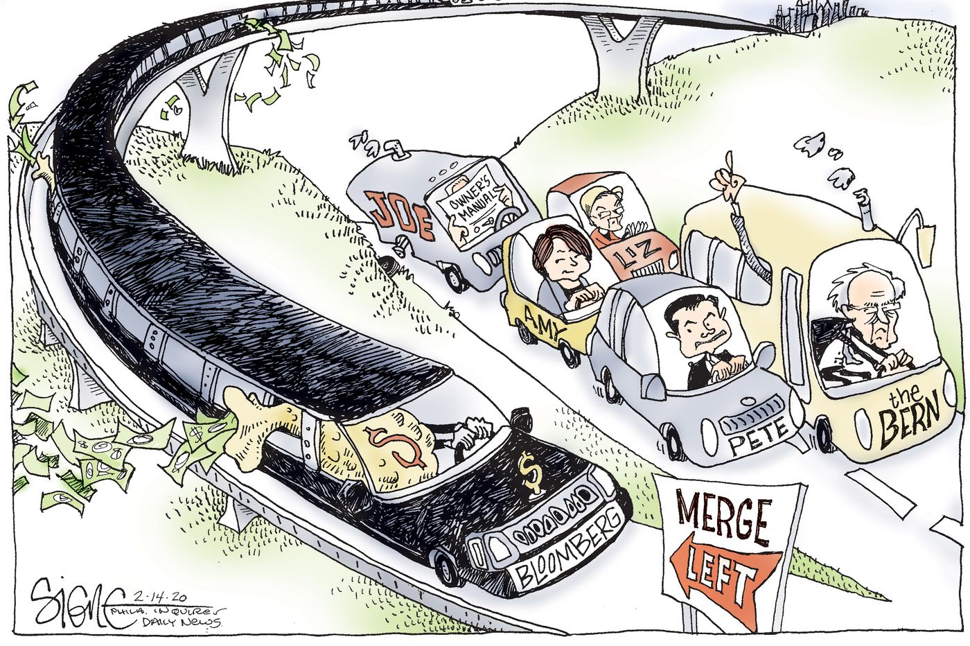 Political Cartoon: Bloomberg merges left