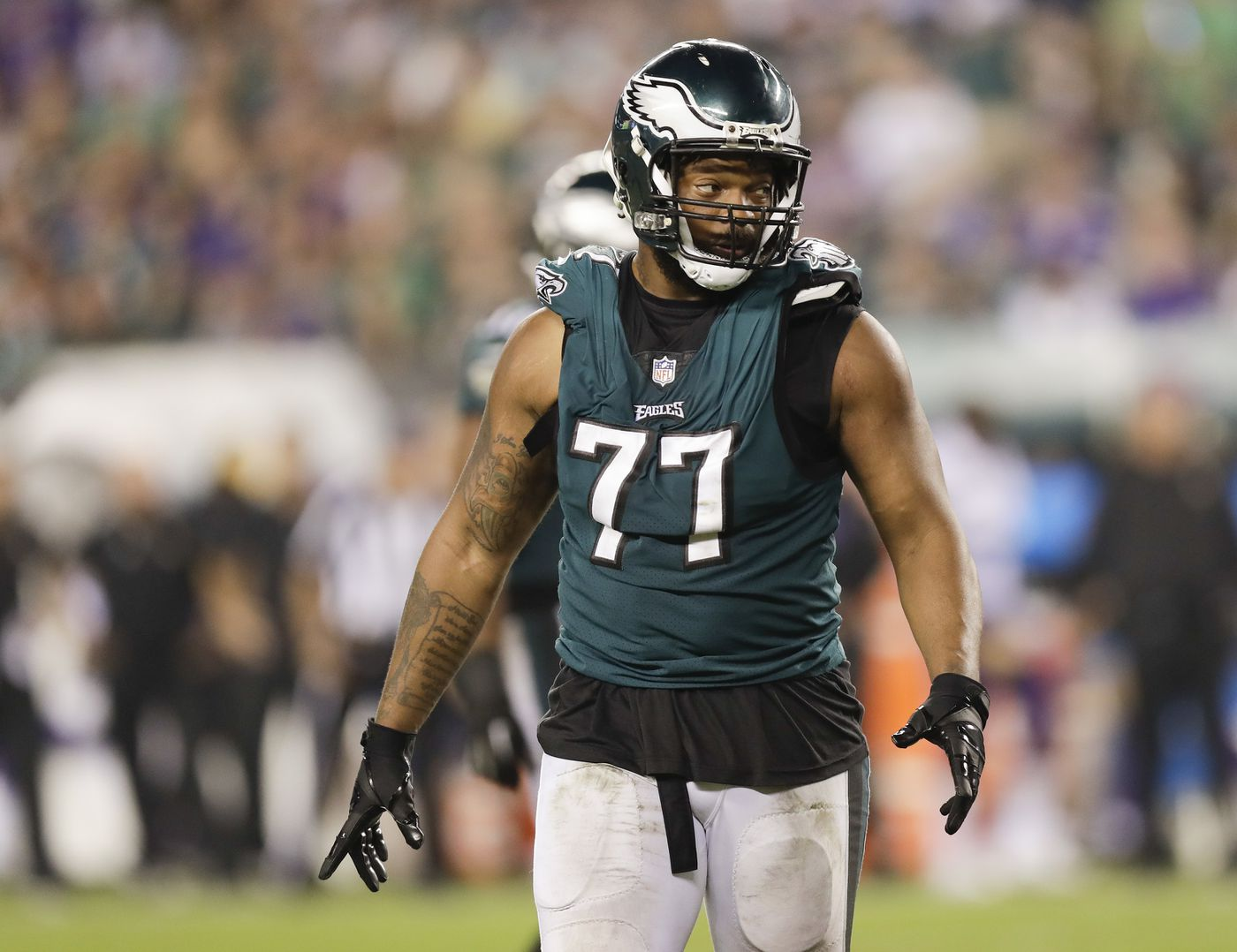 4ff374b4f02 Eagles defensive end Michael Bennett on the field against the Minnesota  Vikings last month.