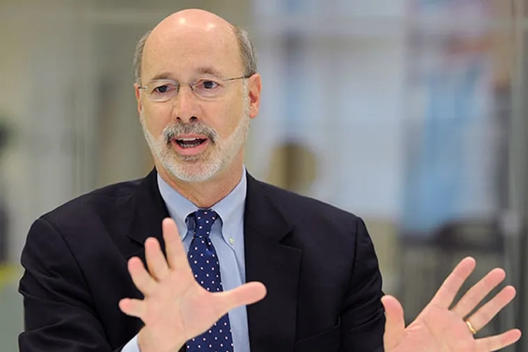 With little more than two weeks until the Democratic gubernatorial primary, soft-spoken York County cabinet king Tom Wolf is crushing in the latest poll, leading the three other candidates by at least 25 points.  ( CLEM MURRAY / Staff Photographer, file )