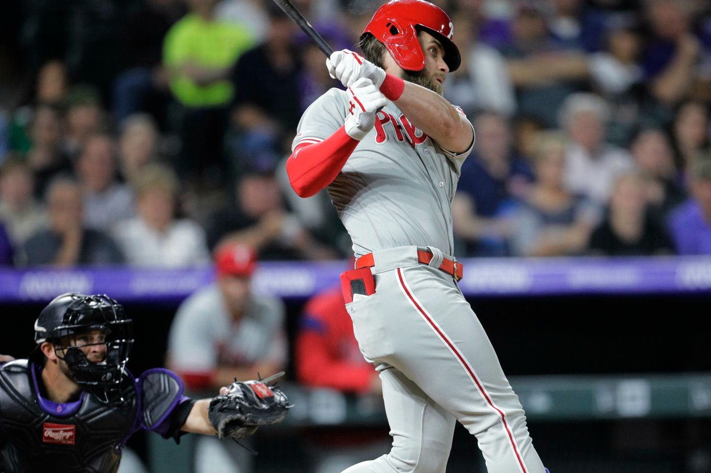 Phillies beat Rockies behind Phil Gosselin's timely double, Bryce Harper's insurance home run as Aaron Nola picks up a win
