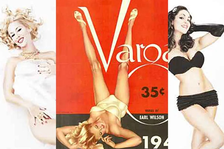 Philly photographer Christopher Gabello sought to recreate painter Alberto Vargas famous pin-up girls. An original Vargas girl is center, flanked by Gabello's remakes.