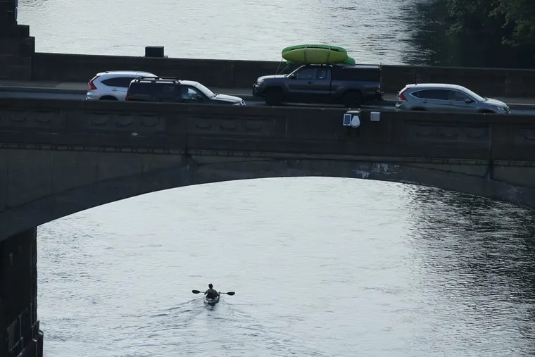 A kayaker paddles along the Schuylkill, part of the watershed.