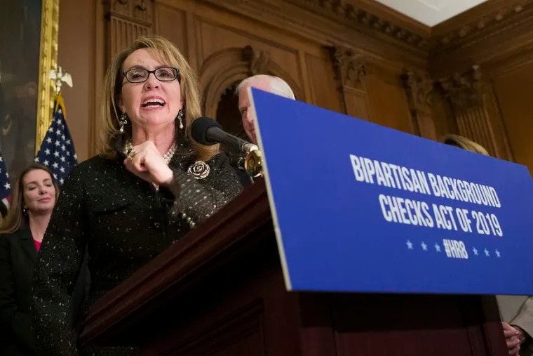 Former Rep. Gabby Giffords speaks during a 2019 news conference on Capitol Hill to announce the introduction of bipartisan legislation to expand background checks for sales and transfers of firearms.