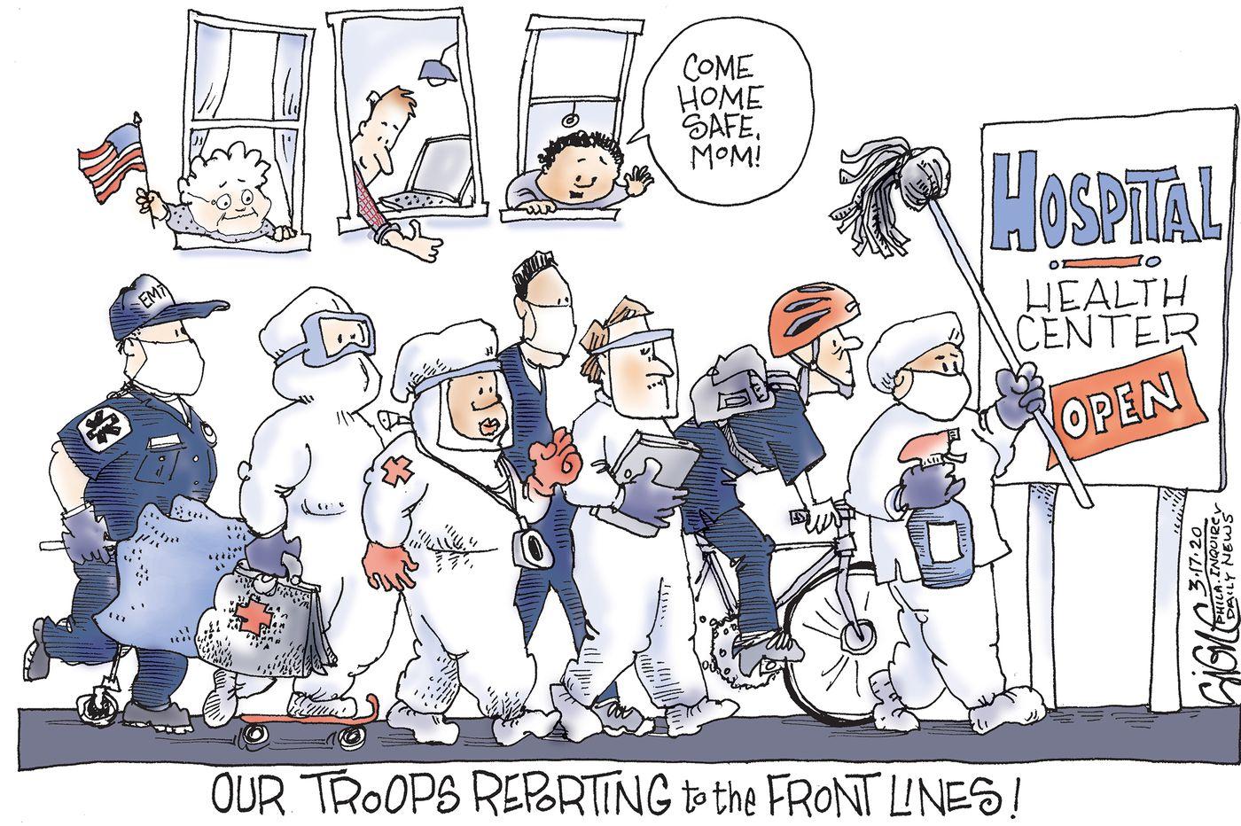 Political Cartoon: Front line coronavirus troops