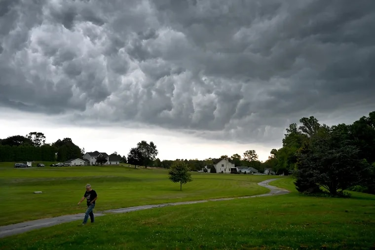 Storm clouds gather over Lehigh Township on an August afternoon. In May, the township board passed — and later rescinded — a resolution declaring the state's mail ballot law unconstitutional.
