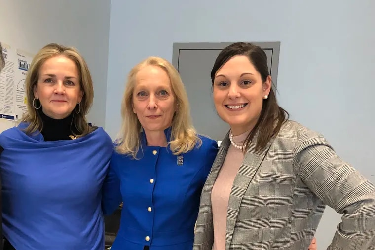 Reps. Madeleine Dean (left) and Mary Gay Scanlon (center) have endorsed Amanda Cappelletti (right) for state Senate.